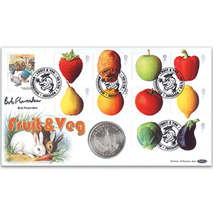 2003 Fun Fruit and Veg Coin Cover - Signed by Bob Flowerdew