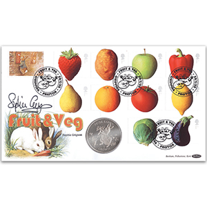 2003 Fun Fruit & Veg Coin Cover - Signed by Sally Grigson