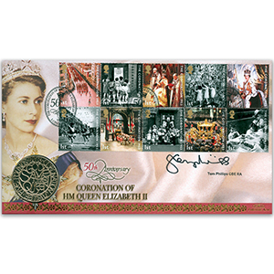 2003 Coronation 50th Anniversary Coin Cover - Signed by Tom Phillips CBE RA