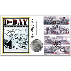 2004 Isle of Man D-Day 60th Coin Cover - Signed by Lt. Col. T. Otway DSO