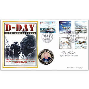 2004 Guernsey D-Day 60th Coin Cover - Signed by Major General Peter L de C Martin CBE