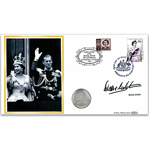 2004 Australia Royal Tour 50th Coin Cover - Signed by Dickie Arbiter