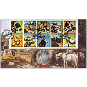 2005 Farm Animals Coin Cover - Signed by Norman Painting