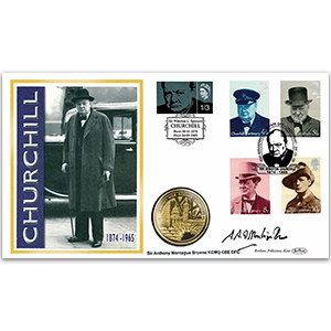 2005 Sir Winston Churchill 40th Coin Cover - Signed by Montague Browne