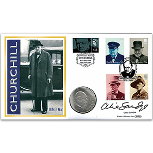 2005 Sir Winston Churchill 40th Coin Cover - Signed by Celia Sandys