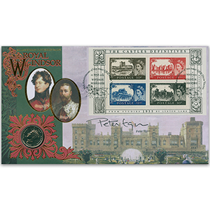 2005 Castle Definitives 50th M/S Coin Cover - Signed by Peter Egan