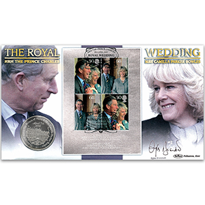 2005 Royal Wedding M/S Coin Cover - Signed by Gyles Brandreth