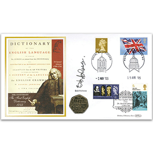 2005 Dr. Johnson's Dictionary 250th Coin Cover - Signed by Bob Holness