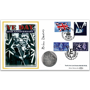 2005 VE Day 60th Coin Cover - Signed by Lord Deedes