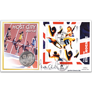 2005 London 2012 M/S Coin Cover - Signed by Jonathan Edwards