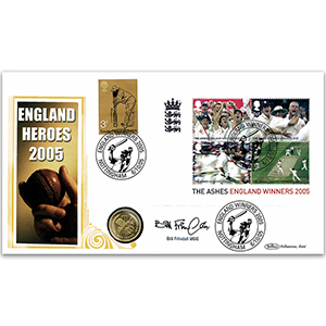 2005 Ashes M/S Coin Cover - Signed by Bill Frindall