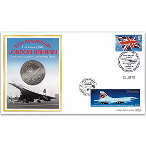 2006 Concorde: London to Bahrain 30th Coin Cover - Concorde Medallion