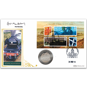2006 Celebrating Scotland M/S Coin Cover - Signed by Fred MacAulay