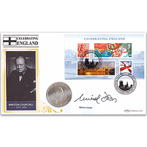 2007 Celebrating England M/S Coin Cover - Signed Michael Dobbs