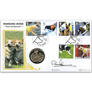 2008 Working Dogs: Royal Companions Coin Cover - Queen Mother Coin - Signed by Ronnie Irving