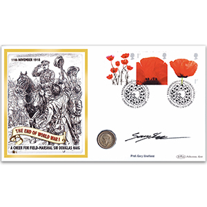 2008 Lest We Forget Se-tenant Coin Cover - Signed by Gary Sheffield