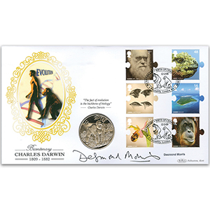 2009 Charles Darwin Coin Cover - Signed by Desmond Morris