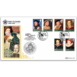 2009 Kings and Queens - Tudors Coin Cover - British Virgin Islands Elizabeth Coin