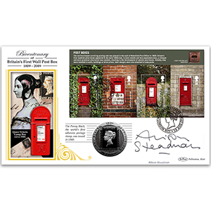 2009 Post Boxes Coin Cover - Signed by Alison Steadman