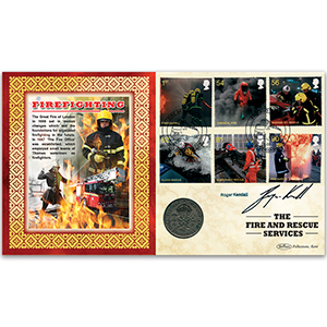 2009 Fire and Rescue Stamps Coin Cover - Signed by Roger Kendall