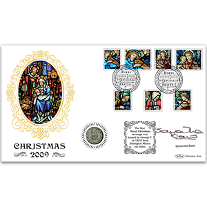 2009 Christmas Coin Cover - Signed by Samantha Bond