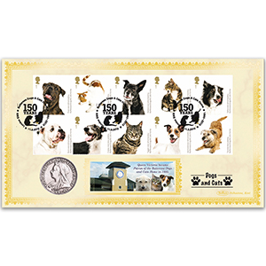 2010 Battersea Dogs & Cats Home Stamps Coin Cover