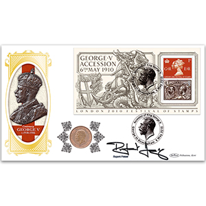 2010 Festival of Stamps M/S Coin Cover - George V Florin - Signed by Rupert Frazer
