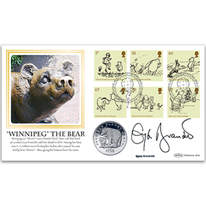 2010 Winnie the Pooh Coin Cover - Signed Gyles Brandreth