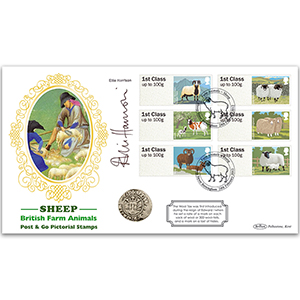 2012 British Farm Animals I Sheep Post & Go Coin Cover Signed Ellie Harrison
