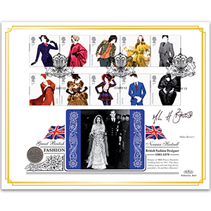 2012 Great British Fashion Coin Cover - Signed by Mike Brown