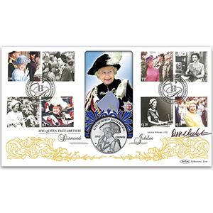 2012 Diamond Jubilee Coin Cover - Signed Dickie Arbiter