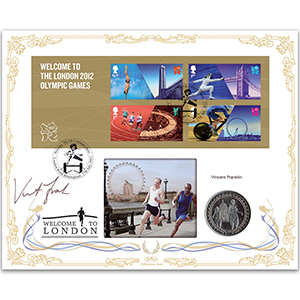 2012 Welcome to the London Olympic Games M/S Coin Cover - Signed by Vincent Franklin