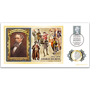 2012 Charles Dickens Birth 200th Special Coin Cover - £2 Dickens Coin