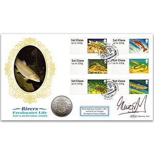 2013 Post & Go Freshwater Life - Rivers Coin Cover - Signed Steve Davis