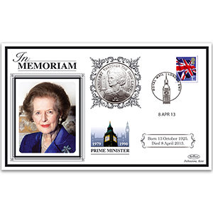 2013 Margaret Thatcher 'In Memoriam' Special Coin Cover - £2 Thatcher Coin