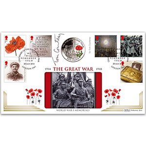 2014 The Great War Stamps Coin Cover - Signed by Sir Tom Courtenay