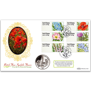 2014 Post & Go British Flora, Symbolic Flowers Coin Cover