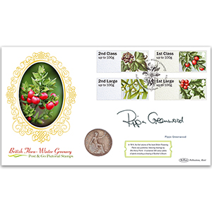 2014 Post & Go Winter Greenery Coin Cover - Signed Pippa Greenwood