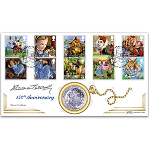 2015 Alice in Wonderland Stamps Coin Cover - Signed by Eleanor Tomlinson
