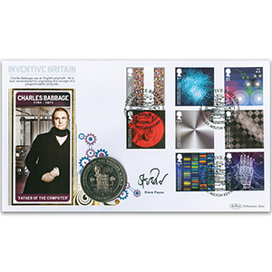 2015 Inventive Britain Stamps Coin Cover - Signed by Steve Payne