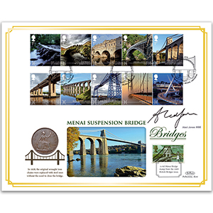 2015 Bridges Stamps Coin Cover - Signed by Aled Jones MBE