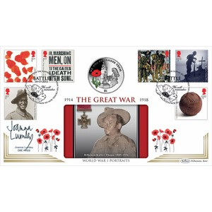 2015 WWI Stamps Coin Cover - Signed by Joanna Lumley OBE