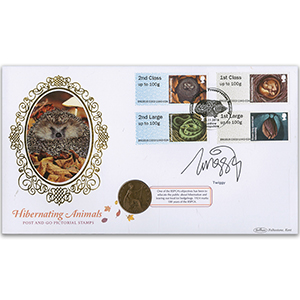 2016 Post & Go Hibernating Animals Coin Cover - Signed by Twiggy Lawson