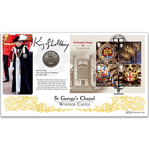 2017 Windsor Castle M/S Coin Cover - Signed by Mervyn King, Lord King of Lothbury