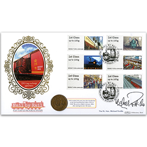 2017 Post & Go Mail by Rail Coin Cover Signed Michael Portillo
