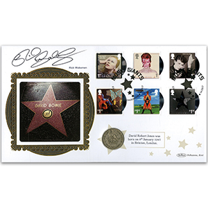 2017 David Bowie Stamps Coin Cover - Signed by Rick Wakeman