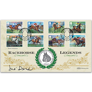 2017 Race Horse Legends Stamps Coin Cover Signed Dame Judi Dench