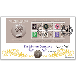 2017 Machin M/S - 50 Years of a Design Icon Coin Cover - Signed Sir Antony Sher KBE