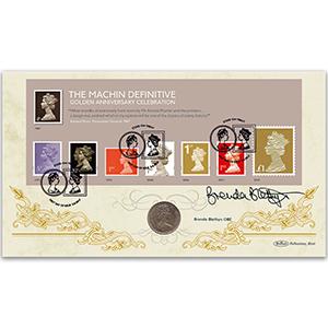 2017 Machin M/S - Golden Anniversary Celebration Coin Cover - Signed Brenda Blethyn OBE