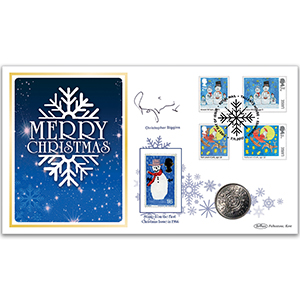 2017 Children's Christmas Stamps Coin Cover Signed Christopher Biggins